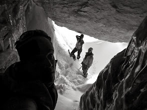 Photo: And an amazing cave. It actually continues up, so there might be a way to the couloir above..