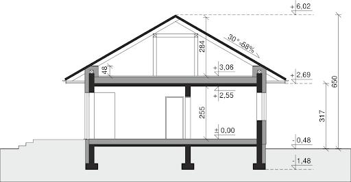 Dom przy Pastelowej 15 D bis - Przekrój