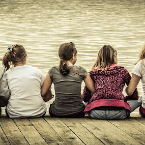 Tweens by Tracy Boyd Goodwin - People High School Seniors ( water, peer, harbor, play, back, children, lake, fun, kids, pre-teen, girl, friends, female, buddies, group, pond, river )