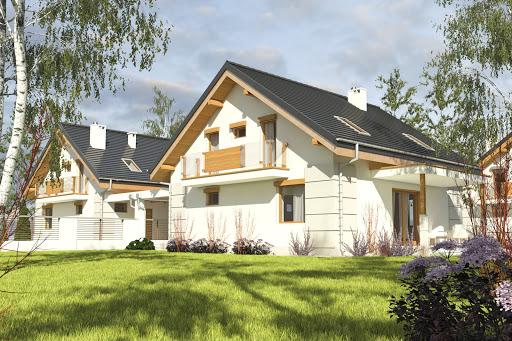 projekt Nowinka V z garażem i wiatą bliźniak A1-BL1