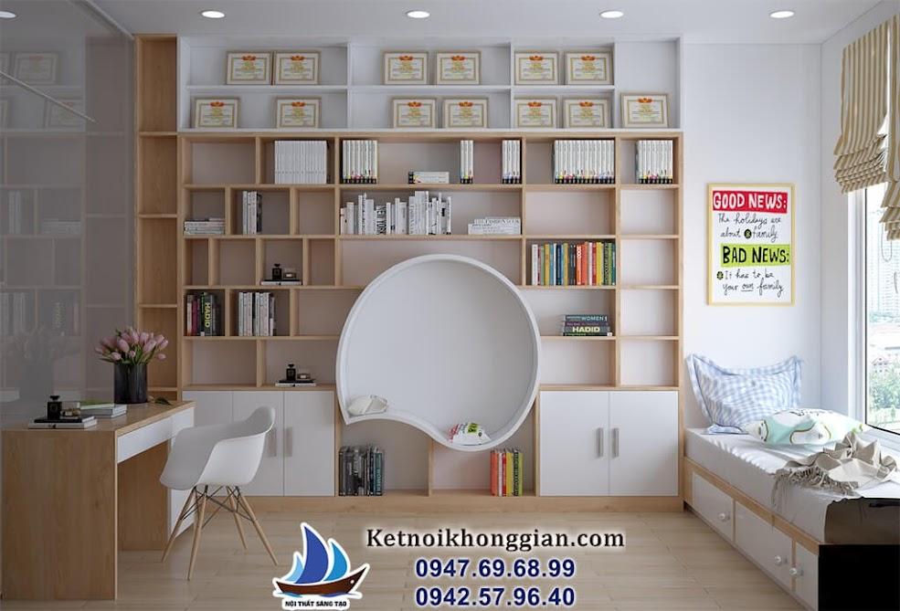 thiết kế phòng đọc sách gia đìnhvới ghế hình cầu độc đáo