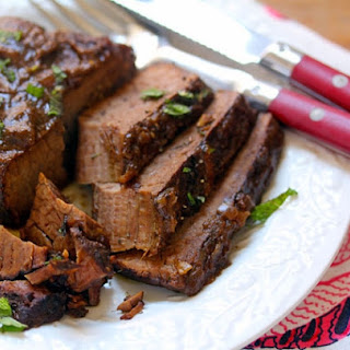 Slow Cooker Beef Brisket With Pomegranate Molasses Gravy.