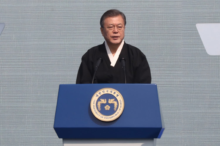 South Korean President Moon Jae-In speaks during the 100th Independence Movement Day ceremony on March 1 2019 in Seoul, South Korea. Picture: GETTY IMAGES/CHUNG SUNG-JUN