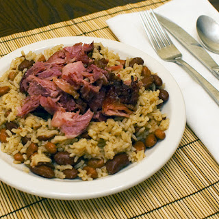 Braised Smoked Ham Shank with Beans and Rice.