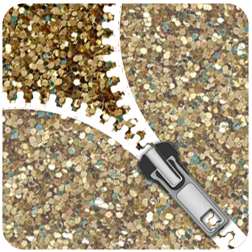 Gold Glitter Zip Locker - zipper theme Screen Lock