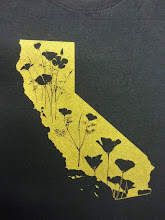 Photo: CA poppies shirt in gold, available on Etsy! www.griffinmapdesign.etsy.com