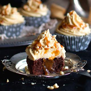Chocolate Cupcakes with Peanut Butter Cream & Caramel Sauce