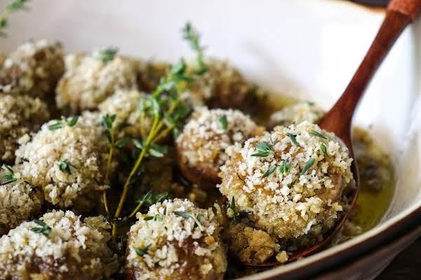 Roasted Garlic Mushrooms On A Spoon.