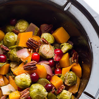 Slow Cooker Brussels Sprouts with Cranberries, Pecans and Butternut.
