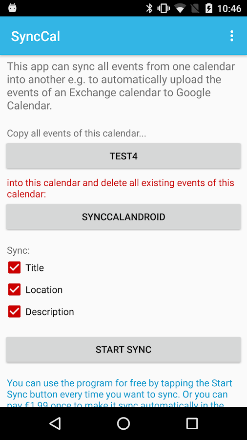 SyncCal - Exchange to Google- screenshot