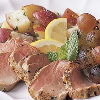 Tarragon Pork Tenderloins with Grilled Grapes
