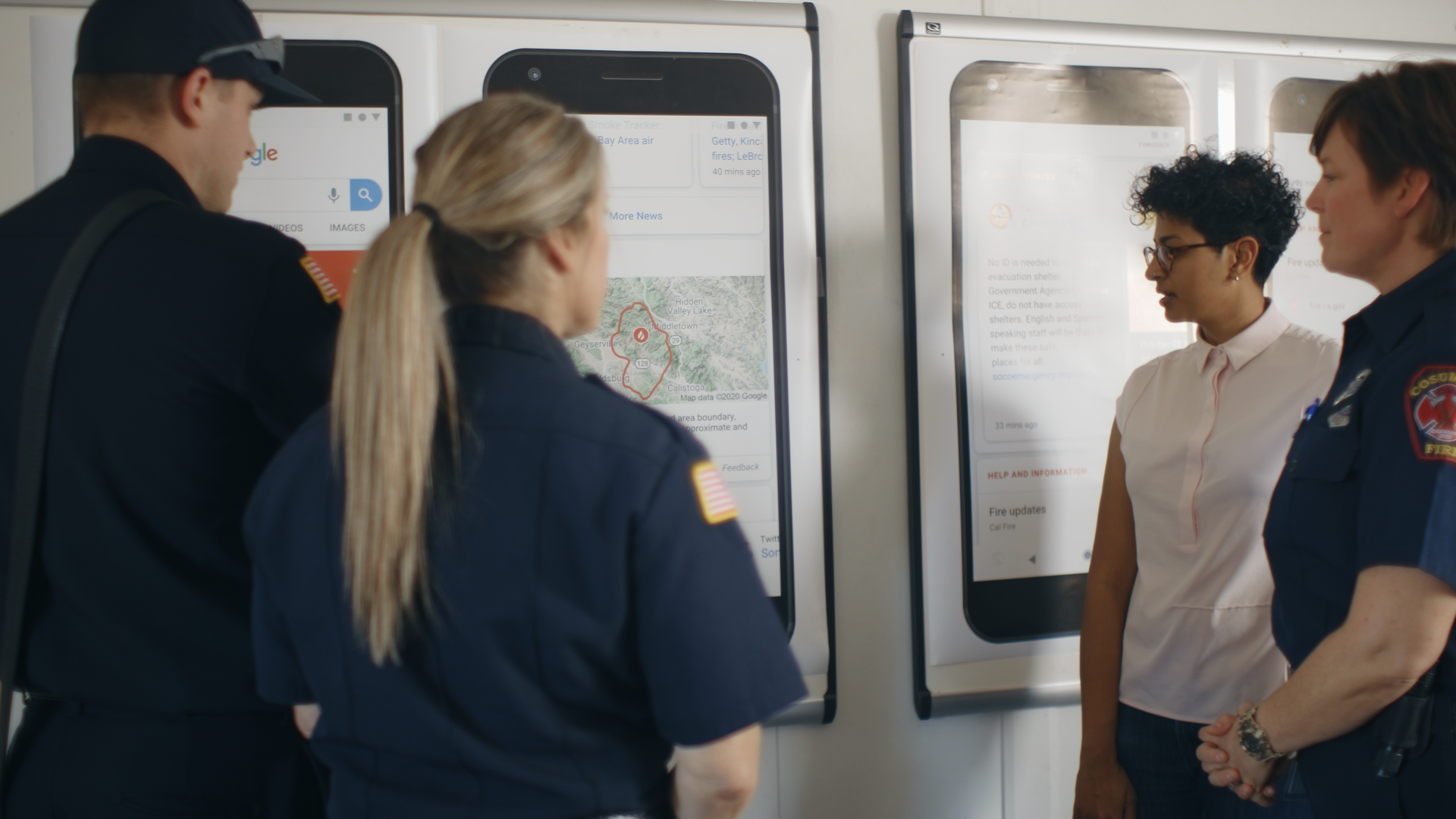 Google working with local firefighters on wildfire boundary maps.