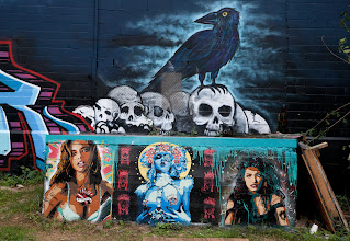 Photo: This #StreetArtSunday image is from my city, Austin, Texas. cc +Luís Pedro   While hanging out with +Lotus Carroll last week, we stumbled upon a huge wall of art by various artists in East Austin.  The stencil work in the foreground is by artist #Niz , who uses puts a twist on pop culture imagery in her stencil work. You can find her stencil work all around Austin.  See her work here: http://www.nizgraphics.com/Newstuff.html  Read her updates page to learn about where cool streetart in Austin is going up: http://www.nizgraphics.com/Updates.html  Finally, for more information about #StreetArt Sunday, read here: https://plus.google.com/108281923609340751312/posts/KrJWTKmscr8  #Austin #streetart #graffiti #stencil #spraypaint
