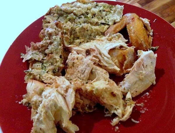 I removed the stuffing and plated along side of the chicken pieces.  **This stuffing is...