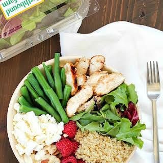 Chicken, Quinoa & Kale Salad Bowl Recipe with Easy Basil Vinaigrette.
