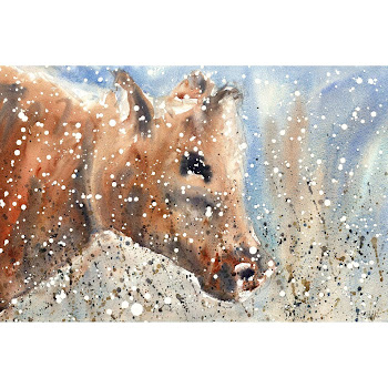 Cow print art from a watercolour painting