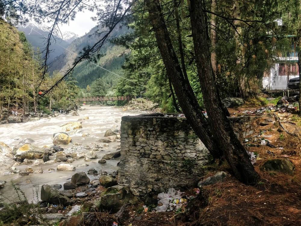 garbage kasol+kullu+district+parvati+valley+himachal+pradesh+india