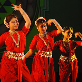 RHYTHM by Debashis Mukherjee - People Musicians & Entertainers ( women, lady, red )