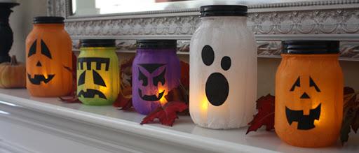 lanternes colorées personnages halloween