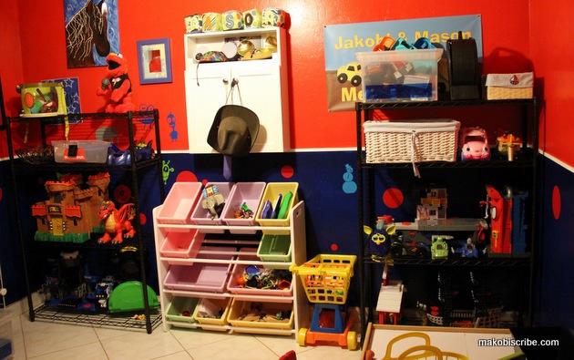 organize my toddler's room. Plan a place for things to organize my toddler's room. Don't just have one huge toy box to throw everything in. Your child one will get bored with that after a while.