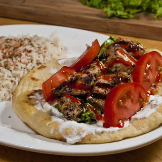 Souvlaki Pita and Greek Rice