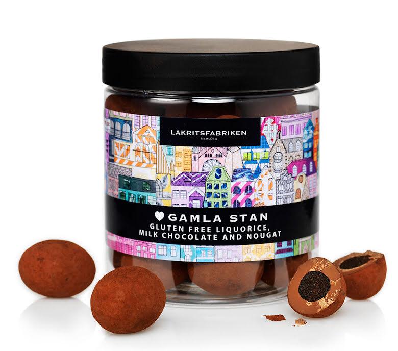 Gamla Stan – saltlakrits mjölkchoklad & nougat - Lakritsfabriken Ramlösa