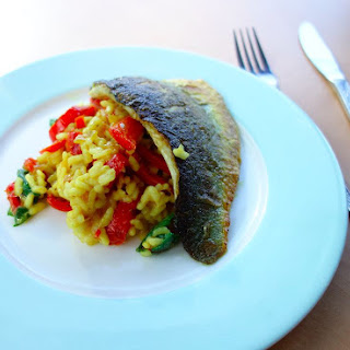 Sea bass with Red Pepper Risotto