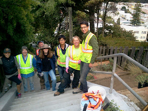 Photo: Hidden Garden Steps volunteers (from left: Kristi, Liz, Paul, and Licia) and City and County of San Francisco Department of Public Works colleagues (Tan, Amy, and Jerad) onsite at 16th Avenue, between Kirkham & Lawton streets, in San Francisco's Inner Sunset District on Saturday, August 10, 2013, at beginning of session that added several dozen new succulents and California native plants to the gardens at the top of the hill. Completion of these efforts and addition of retaining walls by San Francisco Department of Public Works employees as part of erosion-control efforts are among the final major tasks to be completed before the 148-step ceramic-tile mosaic by project artists Aileen Barr and Colette Crutcher can be installed. For more information about the Hidden Garden Steps project, please visit http://hiddengardensteps.org and/or follow us on Twitter (@gardensteps), Facebook (Hidden Garden Steps), and Google+.