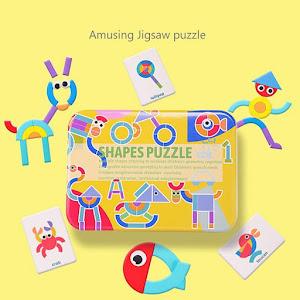 Puzzle Shapes, jucarie educativa puzzle forme geometrice din lemn