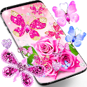 Diamond butterfly pink live wallpaper icon