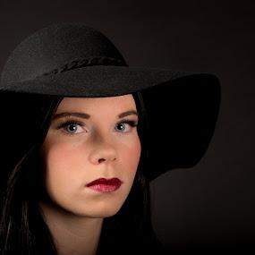 Lady in black by Ton Hoelaars - People Portraits of Women ( red lips, lady, black, portrait, eyes )