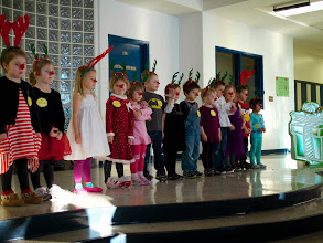 Photo: One of our first stops was Abby's Christmas Program - what a cute little Rudolph she made! And her songs were so cute.