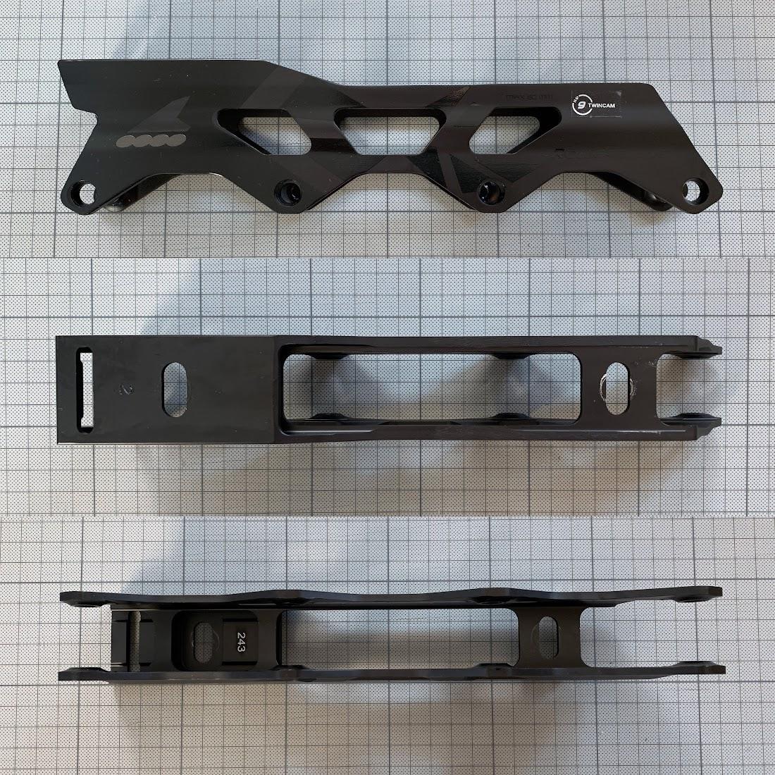 写真4 上:フレームを横から 中央:フレームを上から 下:フレームを下から