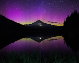 Photo: My wife and I had just settled in to watch some TV at 9ish last night when I saw that the aurora was supposed to be good. 15 minutes later we were in the car headed to Mt Hood, an hour and a half away. Got here just in time for the show. I have to say, way way better than TV.