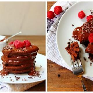 Double Chocolate Fudge Brownie Protein Pancakes.