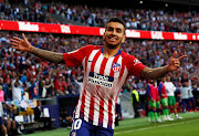 Atletico Madrid's Angel Correa celebrates scoring their first goal against Real Betis during a La Liga match at the Wanda Metropolitano in Madrid, Spain, on October 7, 2018.