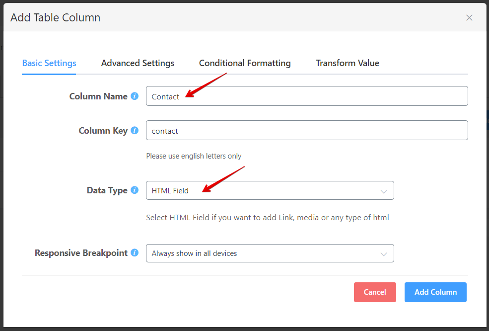 configure the data type for links in online tables