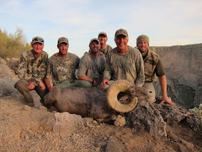 Photo: Ernie Meeske's Desert Bighorn Sheep Hunt in AZ Unit 22 with Jay Scott.  Ernie's ram was AZ Game and Fish checkout score was 187 6/8 Gross and 186 5/8 Net.  The ram has 16 4/8 bases and his long horn is 38 5/8.  Pictured from L to R, Janis Putelis, Seth Meeske, Jeremy Plain, Jay Scott, Ernie Meeske and Jack Johnson Jr