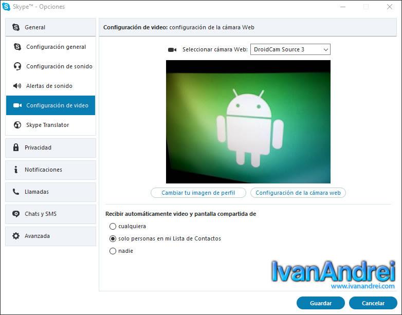 Convertir teléfono Android en Webcam con DroidCam