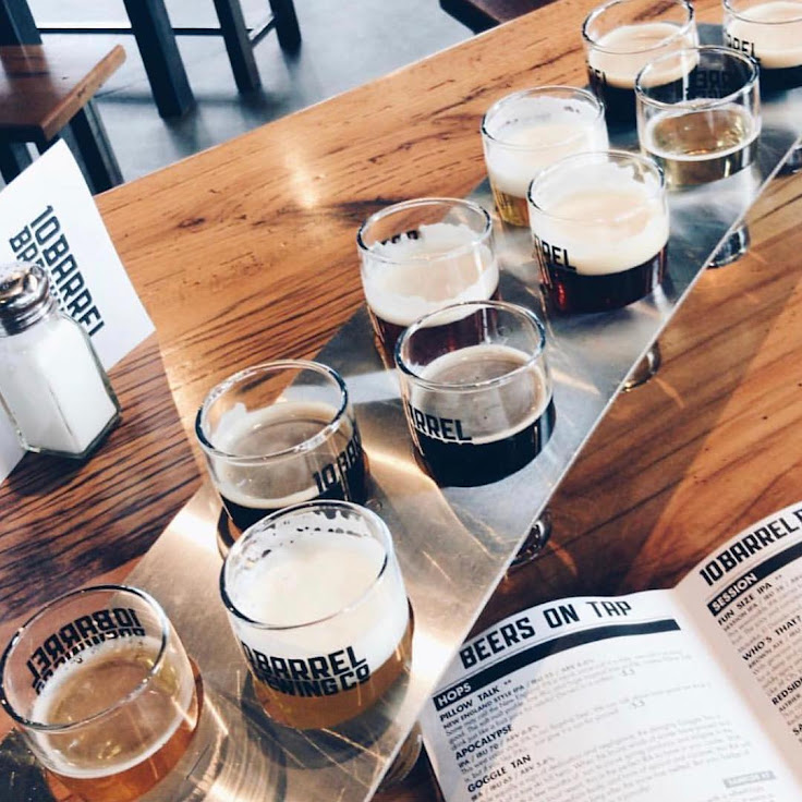 The 10 unit sampler at 10 Barrel Brewing. Photo: Skyler Jones.