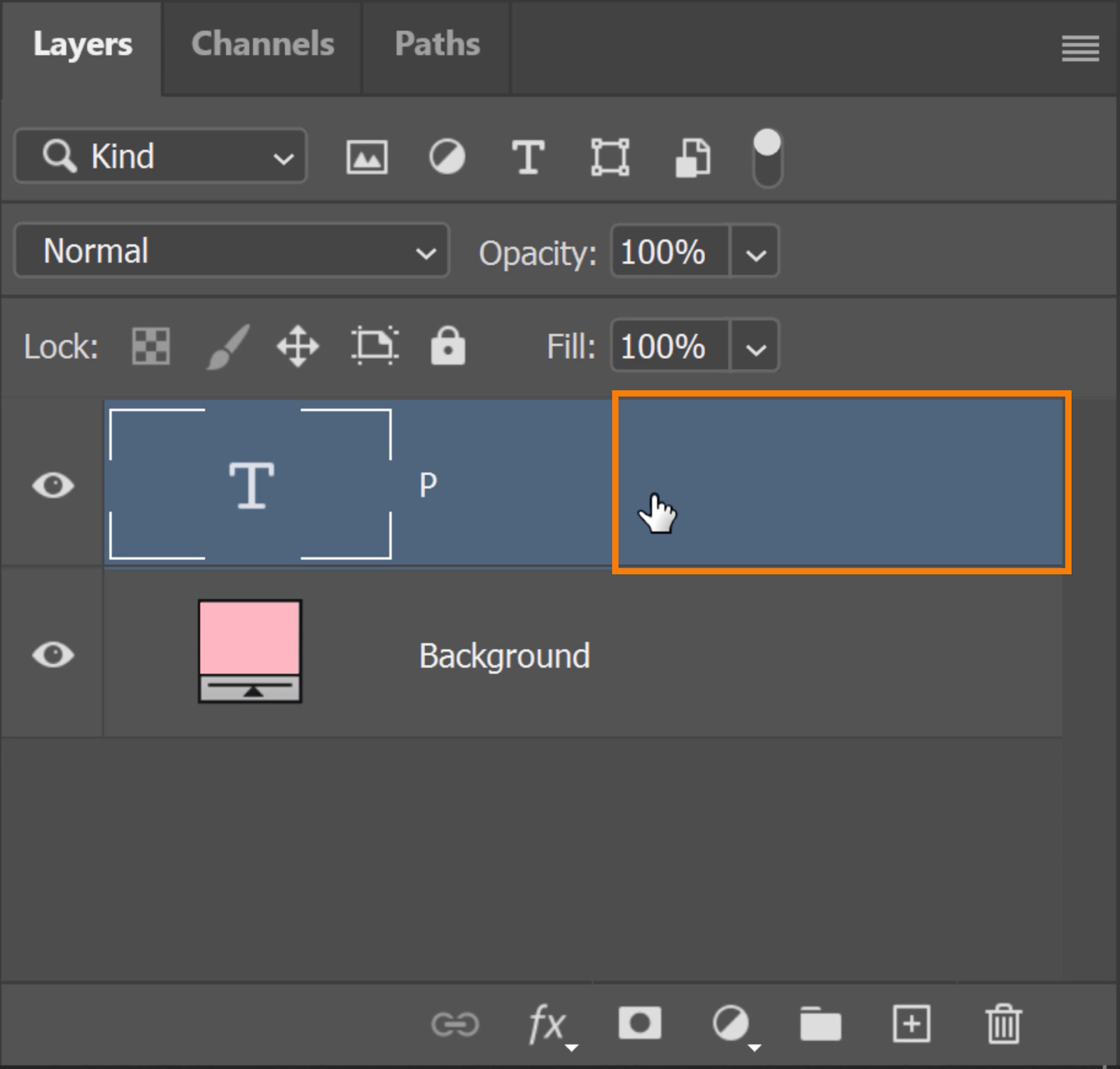 Double-click on the side of the Text layer to bring out the Layer Style window