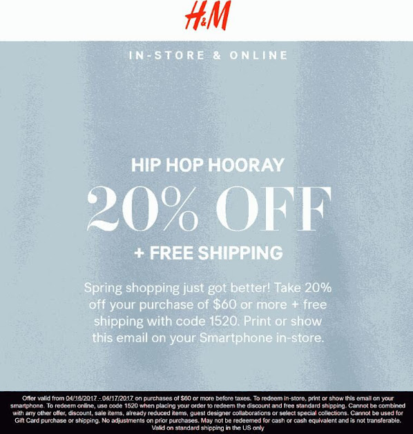 20 Off 60 At H M Or Online With Free Ship Via Promo Code 1520 04
