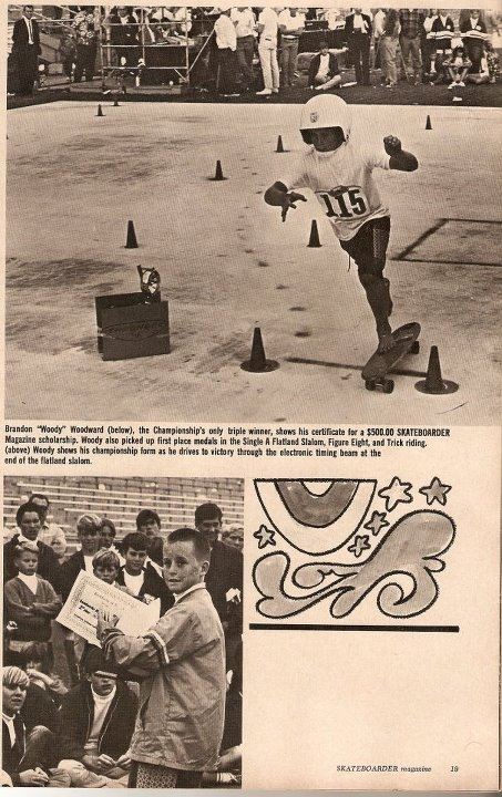 Photo: Woody in the 1965 Anaheim National Championships skating to victory!