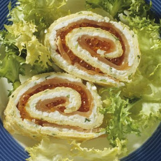 Egg and Salmon Roe Roulade
