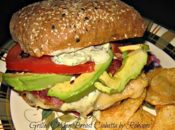 Grilled Chicken Breast Ciabatta W/ Pesto Mayo~robynne Recipe