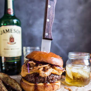 Jameson Whiskey Blue Cheese Burger with Guinness Cheese Sauce + Crispy Onions..