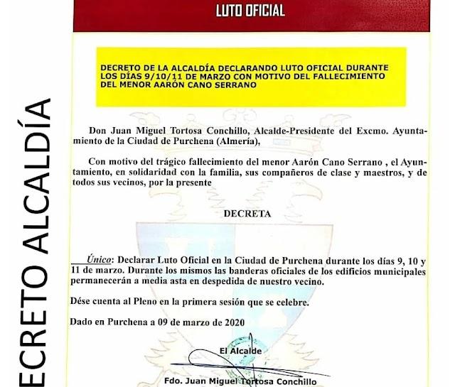 El Ayuntamiento decreta tres días de luto en el municipio.