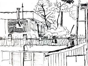 Photo: 女監一角2011.12.30鋼筆 女監算是我對宜蘭監獄最不熟悉的地方了(廢話),有機會看見不同角度的景,怎能不畫上幾筆呢?