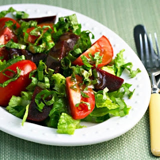 Tomato, Beet And Basil Salad With Balsamic Vinaigrette