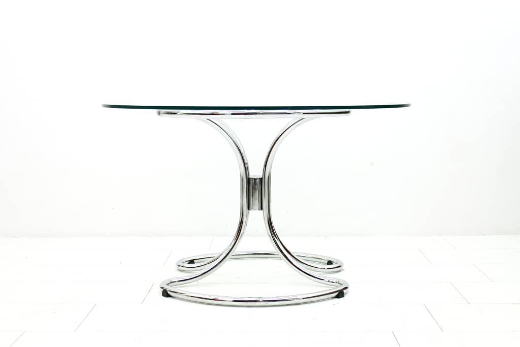 round chrome tubular dining table vintage postmodern